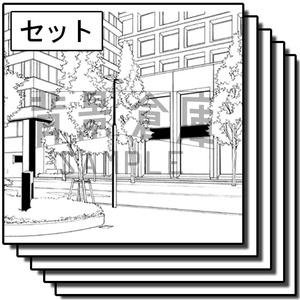 オフィス街の背景_セット8(街並)