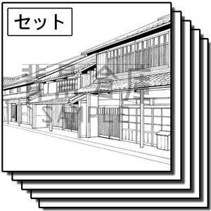 和風の背景_セット21(街並)