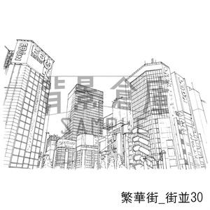 繁華街の背景_セット6(街並)