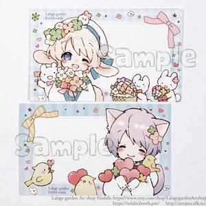 【即納】ミニメッセージカード/10枚×2種セット計20枚入り「うさみみ少年ニコラ」「猫耳少年サミュエル」