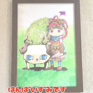 手描きイラスト*カメヒツジと羊飼いの少年*