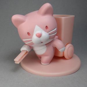 ようじ拾い猫(ピンク)