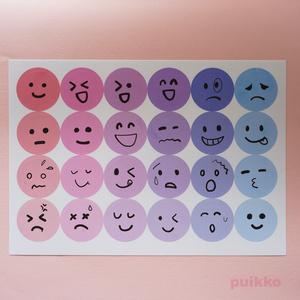 透明シール 丸シール30mm パステルカラー1+表情イラスト