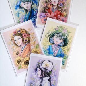 ポストカード5枚セット【花と女性】