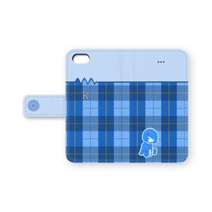 抵抗さん【ブルーチェック】 手帳型iPhoneケース