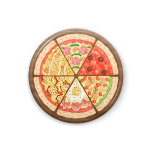 6種のピッツァの缶バッチ