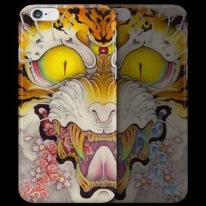 和柄iPhoneケース『虎面図 雲と波と桜』