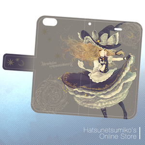 《iPhone6/6s》Akenokalas x Hatsunetsumiko's collaboration 手帳型ケース(霧雨魔理沙)