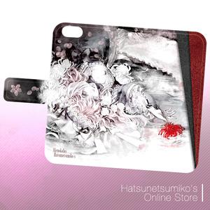 《iPhone6/6s》Akenokalas x Hatsunetsumiko's collaboration 手帳型ケース(西行寺幽々子)