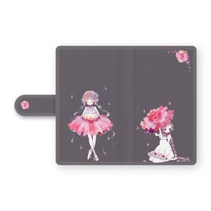 少女(花/パープルグレー)手帳型Androidケース