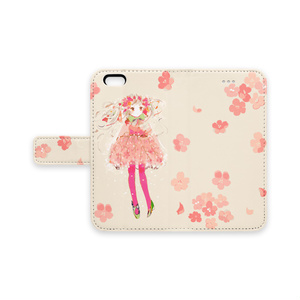 少女(桜)手帳型iPhoneケース