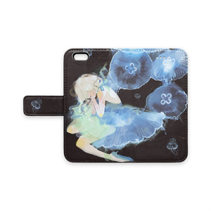 少女(jellyfishes)手帳型iPhoneケース