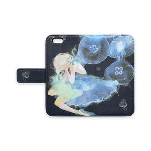 少女(jellyfishes/ネイビー)手帳型iPhoneケース