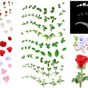 [クリスタ用]バラ・葉・茎・花 マルチパターンブラシ25種