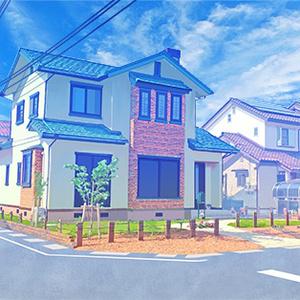 カラー背景素材 「住宅02」