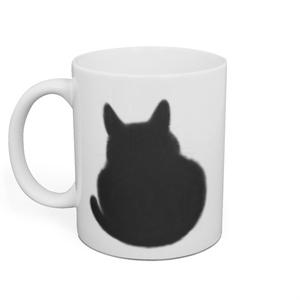 おすわり黒猫マグカップ うらおもて