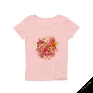ねことお花。Tシャツ[おやゆびねこ]