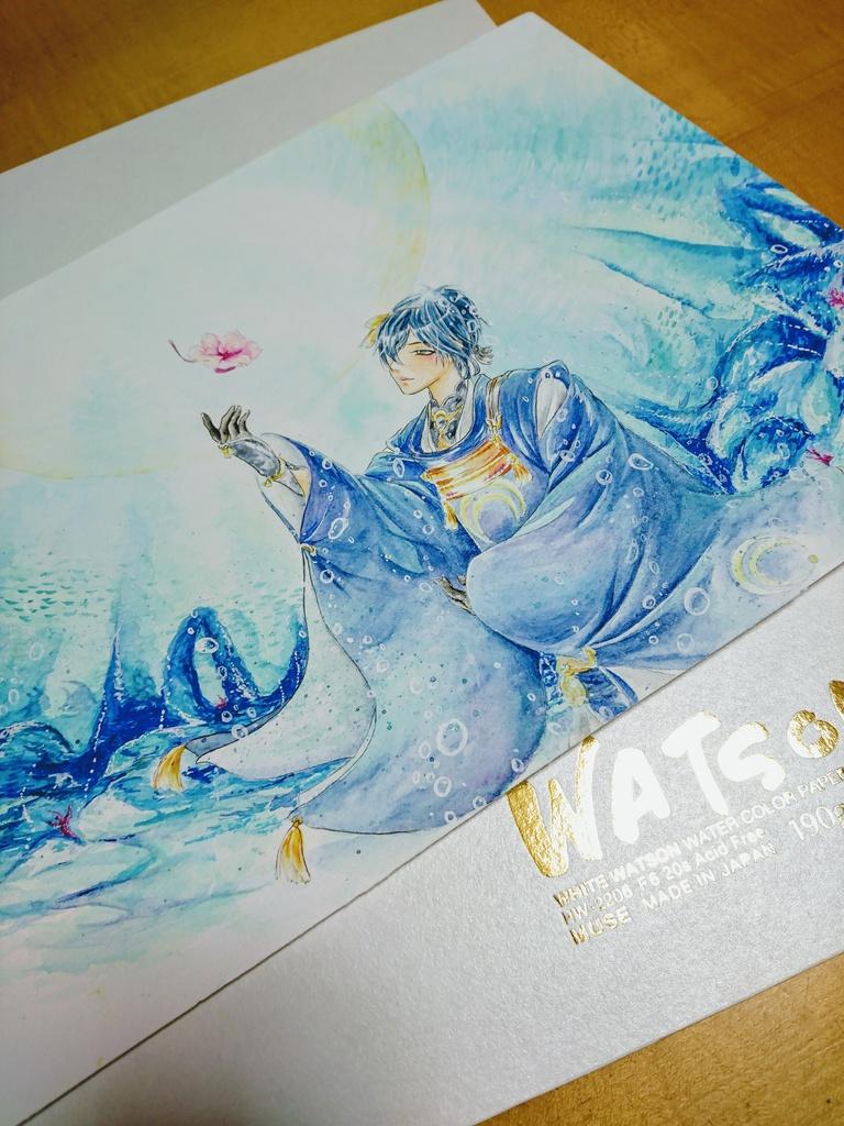 刀剣乱舞 三日月宗近 水彩画 原画
